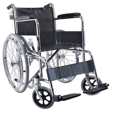 รถเข็นผู้ป่วยพับได้เหล็กชุบโครเมียม รุ่น BYCA905