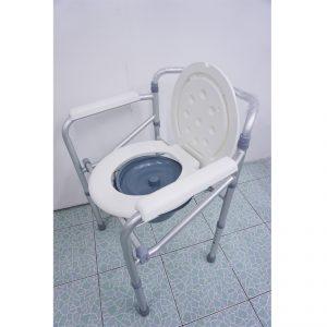 เก้าอี้นั่งถ่ายอลูมิเนียมพับได้ ปรับระดับได้