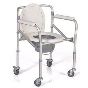 เก้าอี้นั่งถ่ายอลูมิเนียมพับได้ ปรับระดับได้ มีล้อ